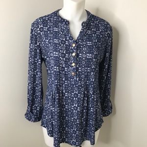 Westport Blue & White Floral Stretchy Blouse S